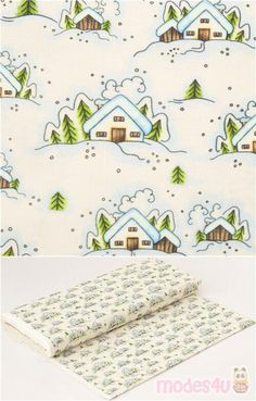 """white cotton fabric with winter house snowing on a hill , very high quality fabric, typical great Michael Miller quality, Material: 100% cotton, Fabric Width: 112cm (44"""") #Cotton #Buildings #Houses #Christmas #USAFabrics"""