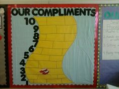 Wizard of Oz Classroom Theme: Compliment Chart. For every compliment the Ruby Slippers moved up the Yellow Brick Road.
