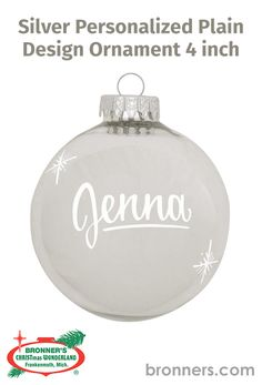 Personalized Plain Design Ornament 4 inch from Bronner's Christmas store of Christmas ornaments and Christmas lights Christmas Store, Christmas Lights, Christmas Ornaments, Personalized Ornaments, Special Person, Ball Ornaments, Flask, Childhood, Surface