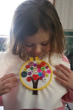 Teach your kids how to sew a button! A useful life skill, with a cute project that can turn into a pillow or wall hanging.