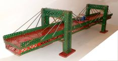 Meccano cable stayed bridge by Philip Webb Cable Stayed Bridge, Bridges, Construction, Chair, Classic, Travel, Design, Toys, Gaming