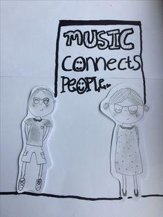 Als je de lichaampjes van de poppetjes wegdenkt (of als je je hand erover houdt) dan is het een muzieknoot met als noten de twee hoofdjes. Music connects people = Muziek verbind mensen