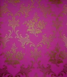 Ladies Slipper Wallpaper Orchid and rose design in copper with filigree circle with fuschia background