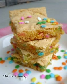 """Cake Batter Bars 1 box confetti cake mix 1/4 cup canola oil 1 egg 1/3 – 1/2 cup milk 1/2 cup chocolate chips (optional) Preheat oven to 350 F. Combine the first four ingredients in a large bowl. Add the milk slowly – you want the batter to remain as dense as possible so they are more of a """"blondie"""" and not a cake. Mix in the rainbow sprinkles and white chocolate chips.  Bake for 25-30 minutes in a 8×8 pan at 350 degrees. (It is okay if they don't seem completely done.  They will set up more as they cool.)Enjoy!"""