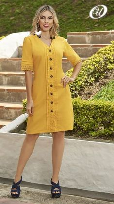Linen Dresses, Casual Dresses, Casual Outfits, Fashion Dresses, Indian Designer Outfits, Designer Dresses, Kurti Neck Designs, Pretty Outfits, Short Sleeve Dresses