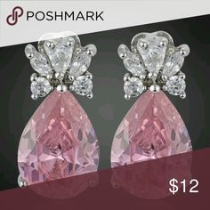 On Hold.    New pair of earings pink with diamonds Pink stones and diamonds set of earings Jewelry Earrings