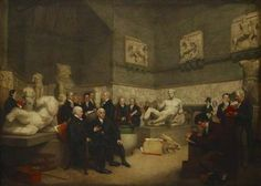 An idealized view of the Temporary Elgin Room at the Museum in 1819, with portraits of staff, a trustee and visitors.