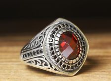 925 Silver Mens Ring Red Quartz Stone Sterling Silver Ring 10 US size
