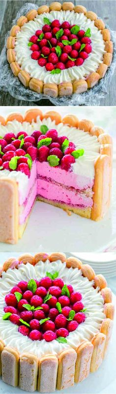 baked, butter, cake, charlotte, classic, cream, dessert, fresh, mint, raspberry, recipes, strawberry