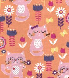Snuggle Flannel Fabric Happy Cats
