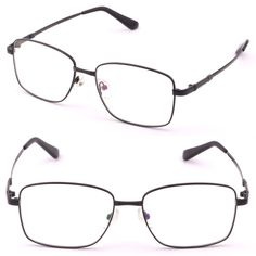 Large Square Men Memory Titanium Frame Bendable Prescription Lens Glasses Black #Unbranded
