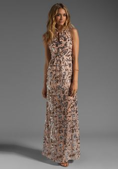Bcbgmaxazria Printed Maxi Dress in Pink (bare pink combo) | Lyst