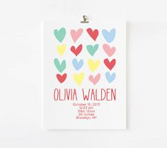 Personalized Girl Birth Announcement Wall Art // Hearts Birth Announcement // Personalized Wall Art. $18.00, via Etsy. CUTE!!!!