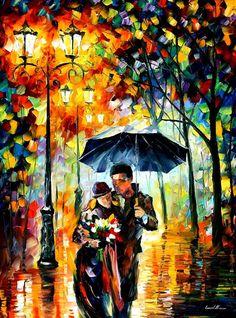 "Amor arte trabajo - caliente noche — romántico paisaje pintura al óleo moderna en lona de Leonid Afremov. Tamaño: 30 ""X 40"" pulgadas (75 cm x 100 cm)"