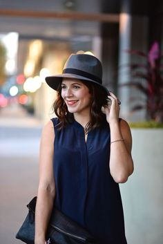 Fedora and navy dres