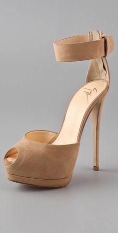 Giuseppe Zanotti nude ankle strap peep-toe heels. | luxuryshoeclub.com