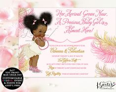 African American baby girl baby shower invitations, pink, rose gold, blush pink, pearl white, ivory, pearls baby shower, YOU PRINT