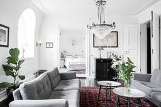 Gorgeous neutral toned glam living space| This Swedish Sanctuary Has Minimalism Down via @MyDomaine