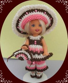 "Crochet Doll Clothes Big Beaded Hat Outfit for 4 ½"" Kelly Same Sized Dolls 