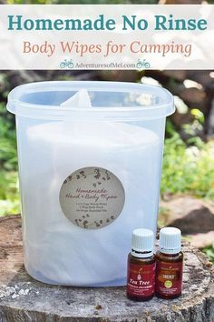 When you're camping, sometimes a shower just isn't feasible. Homemade no rinse body wipes are great for camping and spending time in the great outdoors. How to make your own hand and body wipes with an easy recipe that uses water, body wash, and two of my Camping Bedarf, Camping With Kids, Camping Hacks, Outdoor Camping, Camping Ideas, Backpacking, Camping Spots, Camping Stuff, Family Camping
