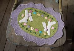 Primitive Easter Bunny Penny Rug Tulips Wool Felt Spring Candle Mat | eBay