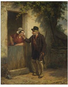 Game Keeper and Woman at Cottage Door, 1858, by Dillens, Hendrik Joseph, born 1812 - died 1872. V&A 1050-1886
