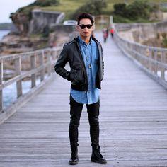 black skinny jeans dr martens denim shirt leahter boots sunglasses jacket coat streetstyl fashion men