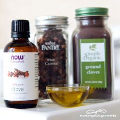 Clove Compress Remedy for a Toothache- use this simple & effective natural remedy to get rid of your toothache pain.  :|:|:|:    Rinse your mouth with warm salt water to get it nicely flushed out.  Mix a few drops of clove essential oil with ½ teaspoon of olive oil. Thoroughly soak a cotton ball in this mixture and then hold it gently but firmly against the sore tooth or gum.