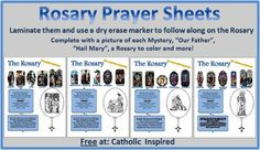 Rosary Prayer Sheets! {Great for Kids and Teens} | Catholic Inspired ~ Arts, Crafts, and Activities!