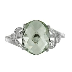 14K White Gold Green Amethyst Oval Swirl Ring