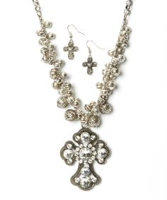 Rhinestone & Silver Cross Pendant Necklace & Earrings | Daily deals for moms, babies and kids......love love this!!