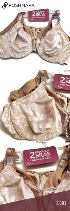 381b4681f1 Olga 2 Pack Cushioned Underwire Bra NWT Nude and patterned designs in this  2 pack Olga bra set.