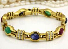 Antique C. 1920 Deco 18k Gold Sapphire Emerald Ruby Diamond Tennis Bracelet! in Jewelry & Watches, Vintage & Antique Jewelry, Fine, Art Nouveau/Art Deco 1895-1935, Bracelets | eBay