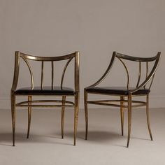 Talisman A Pair of Tarnished Brass Framed Side Chairs 1960s - want these so bad
