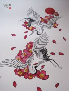 Amazing Flowers and Flying Crane Tattoo Design
