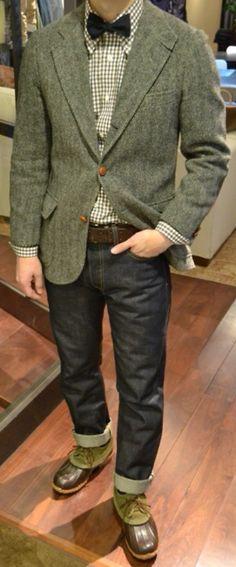 226adde7f83f2 Green Wool Herringbone Jacket, Check Shirt, Dark Jeans, and Green Suede and  Rubber