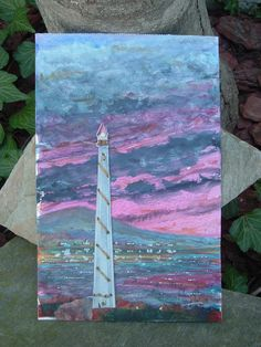 original lighthouse mixed media by foggyholler on Etsy, $65.00
