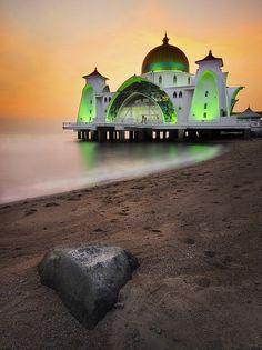 ~~Straits Mosque, Malacca ~ peaceful beach landscape by nelza jamal~~