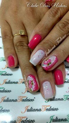 Unhas decoradas com vintage floral Love Nails, Pink Nails, My Nails, Colorful Nail Art, Wedding Nails For Bride, Elegant Nails, Christmas Nail Art, Nail Tutorials, Nail Arts