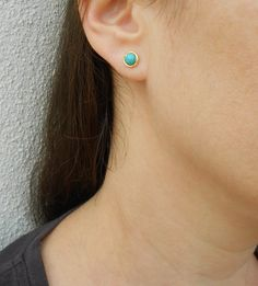 Turquoise stud earrings Turquoise post earrings by SarittDesigns