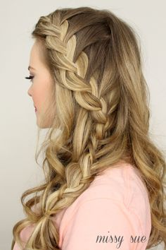 This braid is a little tougher; it combines a French braid, a lace braid, and a classic three-strand braid. However, Missy Sue's tutorial video makes this gorgeous braid completely doable. #FrenchBraids #Hairstyles