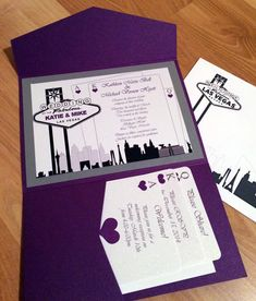 Getting married in Las Vegas? This elegant 5X7 pocket fold Las Vegas Destination Wedding Invitation set is perfect for your wedding! The pocket inside the invite nicely holds the reply and any additional cards you would like to add. Pricing: Each set is $6.00 One invitation