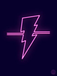 Sometimes you just gotta draw a rad pink neon lightning bolt. (If you just gotta own a rad pink neon lightning bolt, buy one here. Lightning Bolt Tattoo, Lightning Logo, Blitz Design, Purple Lightning, The Flash Season, Neon Purple, Purple Wallpaper, Purple Aesthetic, Neon Lighting