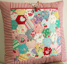 I LOVE almost everything Amy makes--this one is no exception!! Darling hexagon pocket pillow.