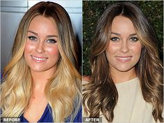 Before & after - Blonde to brunette Lauren Conrad Goes Back To Her Roots - Daily Makeover