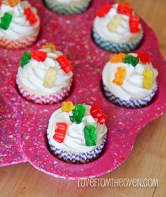 Gummy Bear Cupcakes w/ White Chocolate Frosting