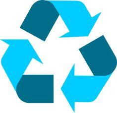 Light blue universal recycling symbol / logo / sign - http://www.recycling.com/downloads/recycling-symbol/