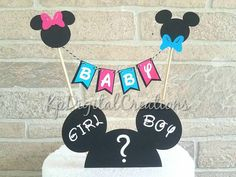 Mickey and Minnie gender reveal cake, Mickey Mouse gender reveal, Minnie Mouse gender reveal, gender reveal cake Disney gender reveal ideas topper ideas, gender reveal ideas