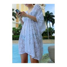 Rotita V Neck Elastic Waist White Lace Cover Up ($27) ❤ liked on Polyvore featuring swimwear, cover-ups, white, white lace cover up, cover up beachwear, v neck cover up, swim cover up and white cover ups