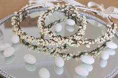 Wedding Crowns with Ivory Floral Berries, the joining ribbon can be personalised with the bride and groom names and wedding date Handmade Wedding, Personalized Wedding, Wedding Crowns, Wedding Ceremony, Orthodox Wedding, Greek Wedding, Wedding Looks, Wedding Stuff, Wedding Ideas